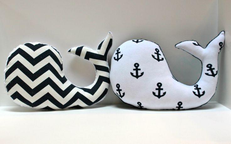 Modern baby Chevron WHALE pillow - nautical nursery decor navy white plushie - shower gift for new mom. $28.00, via Etsy.