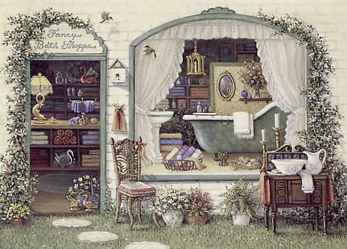 Janet Kruskamp: Originals Oil, Bath Shoppe Janet, Foot Bathtubs, Exterior Scene, Antiques Washstand, Claw Foot, Shoppe Janet Kruskamp, Antiques Claw, Fancy Bath