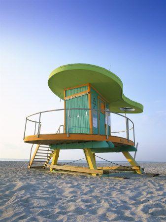 Lifeguard Hut in Art Deco Style, South Beach, Miami Beach, Miami, Florida, USA