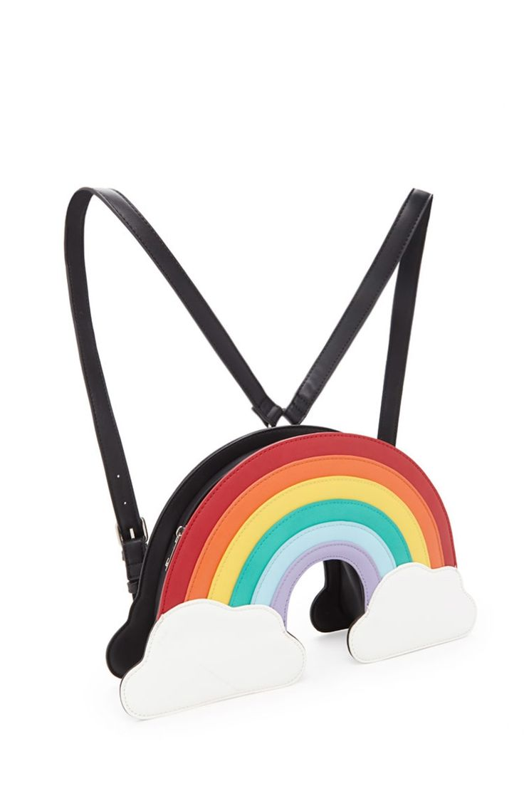 A structured rainbow backpack crafted from faux leather featuring a zipper top closure and adjustable shoulder straps.