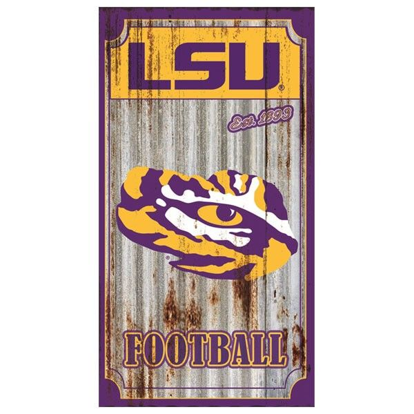 LSU Tiger Eye Corrugated Metal Wall Art Sign