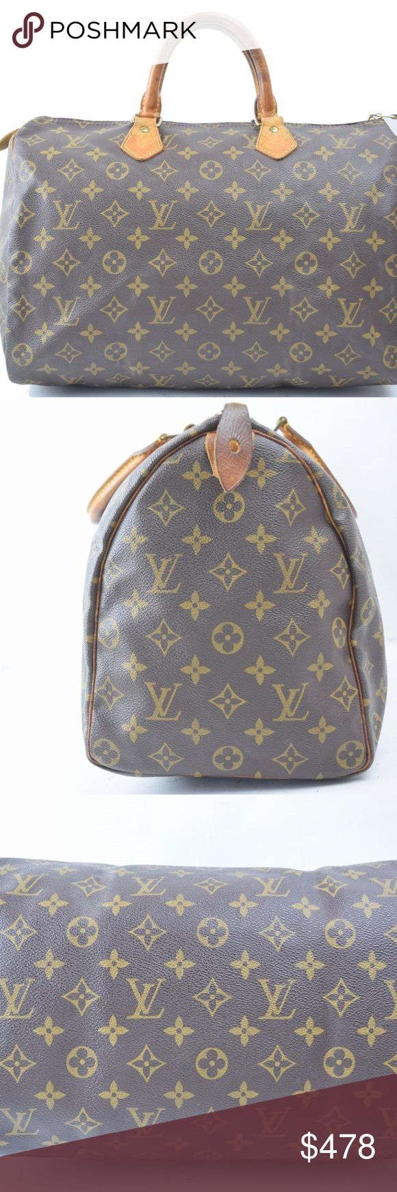 Louis Vuitton Speedy 35 Monogram Handbag 10765 Outside: Minor rubs and cracks on the leather parts. Minor stains partially.  Handle: Minor rubs and cracks on a part of handle.  Bottom: Minor rubs on the edge of the bottom.   Inside: Minor rubs on the whole parts. Minor cracks on the upper parts. Minor stains partially.  Zipper works properly.  Metal: Minor scuffed mark on the almost all of metal parts.  Height: 9.05 Width: 13.7 Depth: 7.08 Handle: 10.63  Code: SP1915   Ref: 10765 Louis…