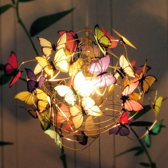 Lamp with multicolor butterflies Tutti by AtLastCraftsbyMatchD