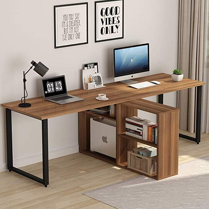 Amazon Com Tribesigns 94 5 Inch Computer Desk Extra Long Two Person Desk With Storage Shelves Double Wor Computer Desks For Home Home Office Table Home Desk