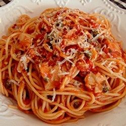 Chef John's Spaghetti with Red Clam Sauce Recipe - anchovy paste tomato sauce white wine capers