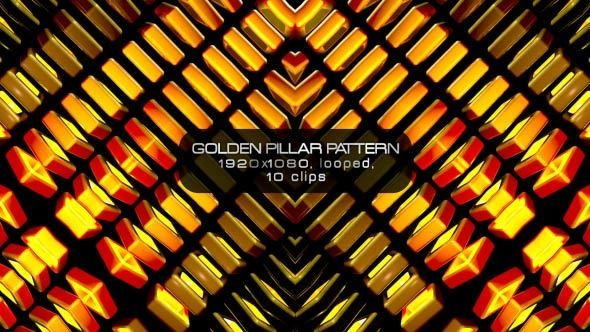 Golden Pillar Pattern Video Animation | 10 clips | Full HD 1920×1080 | Looped | H.264 | Can use for VJ, club, music perfomance, party, concert, presentation | #3d #abstract #bouncing #box #cube #dance #disco #glow #gold #golden #loops #neon #party #tron #vj