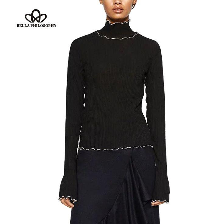 autumn winter fashion small turtle neck Serging ruffles long sleeve Shirt