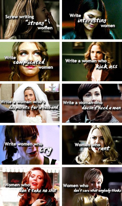 The women of Supernatural. It makes me happy that they tend to be actual *characters*, not just a stereotype or a caricature of a woman. They all have a story.