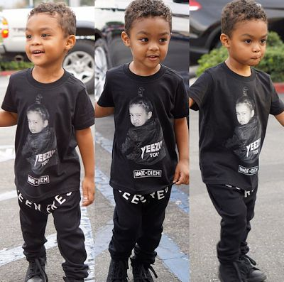 50 Cents' son rocks a Yeezy, North West Tshirt | olaruks