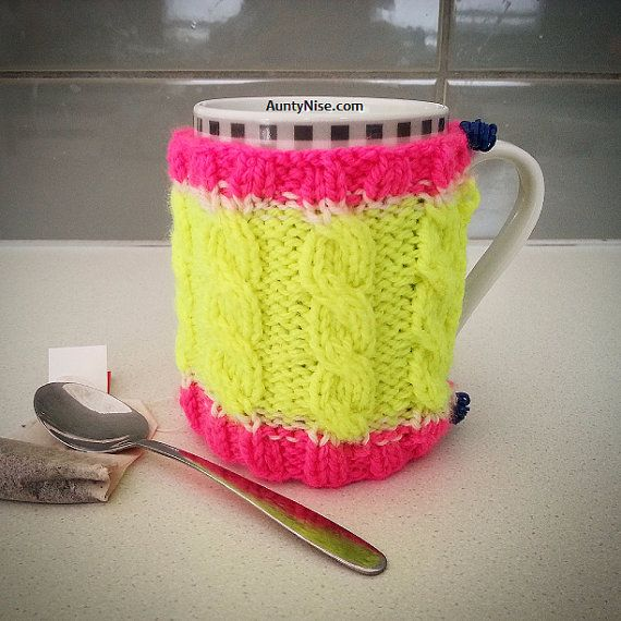 Stretchy Cable Cup/Mug Cozy Knitted PATTERN by AuntyNiseCrafts - Available on Etsy, Craftsy or Ravelry. AuntyNise.com
