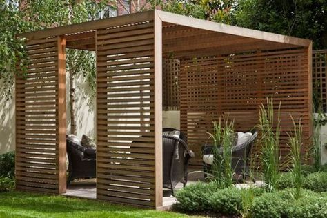 modern pergola with woven furniture and walls and ceilings as sunscreens