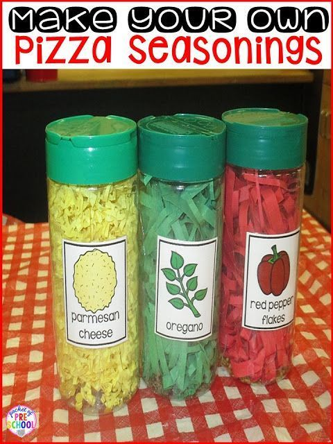 Pizza Restaurant in the dramatic play center: how to make your own pizza seasonings