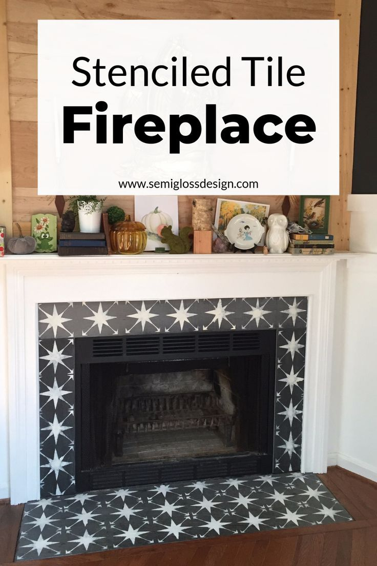 The Easiest Way To Paint Fireplace Tile Using A Stencil Fireplaces