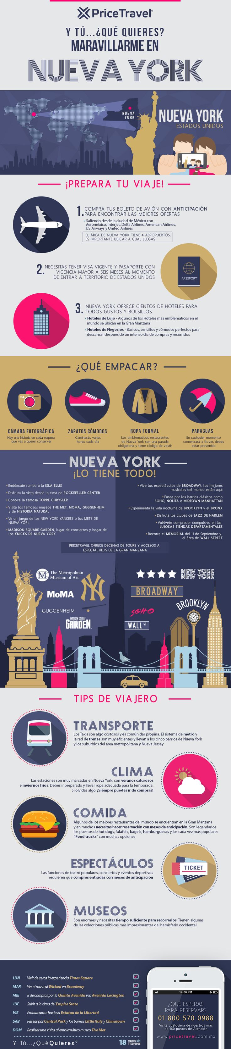 #Infografía sobre qué hacer en Nueva York. Tips de viaje para descubrir Nueva York, lugares de interés, qué empacar. ¡Te lo decimos todo!
