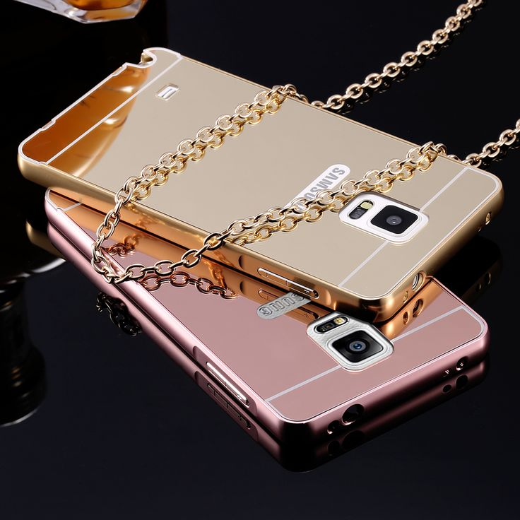Mirror Case For Samsung Galaxy Note 3 N9000 Note 4 N9100 Note 5 N9200 Phone Cases Hybrid Luxury Gold Aluminum Frame + Hard Cover