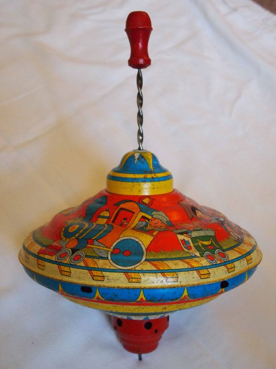 Ohio Art Spinning Top Toy 1950s Train Litho by APeaceofMyMind, $38.00