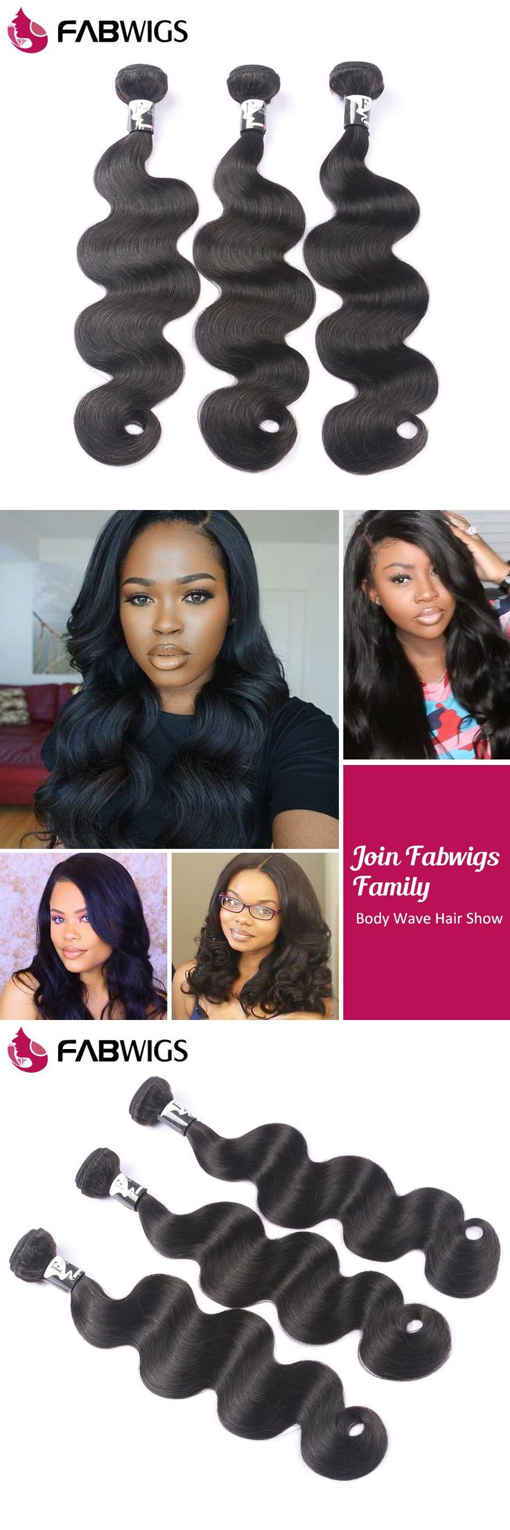 Fabwigs Brazilian Body Wave Hair Weave Bundles 100% Remy Human Hair Extensions Natural Color 1 Piece Only Suggest Buy 3 Bundles