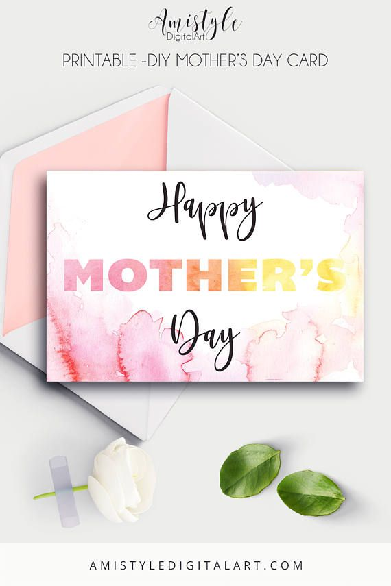 Mother's Day printable card with watercolor design - Happy Mother's Day by Amistyle Digital Art on Etsy