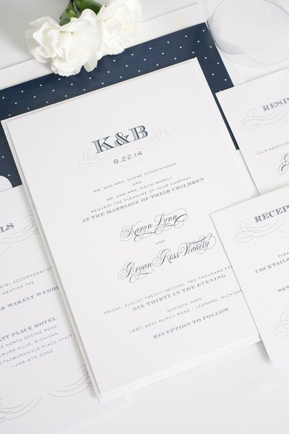 Antique Monogram Wedding Invitations Sample 34