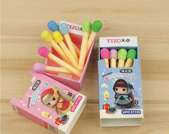 Novelty stationery eraser cute matches eraser with by JnMstudio, $3.00