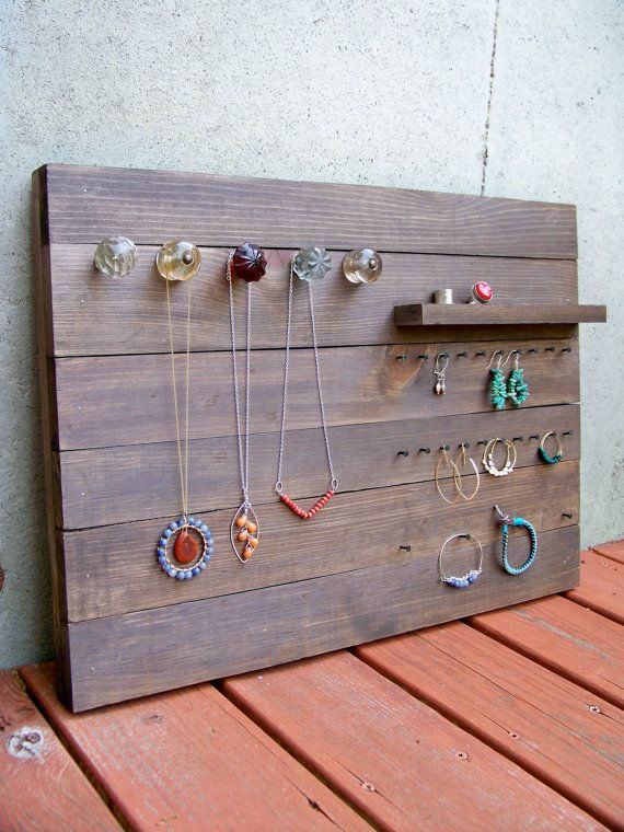 Reclaimed Wood Jewelry Organizer Large by RusticWoodOriginals