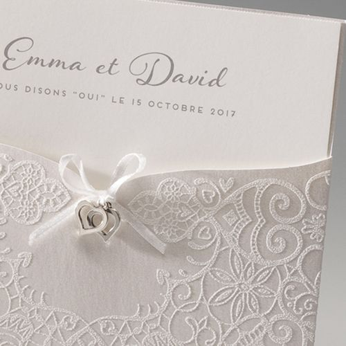 Faire-part Mariage Traditionnels - Bijoux coeurs Pochette 45989