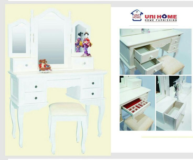 Choose which dressing table will help make you beautiful each day with this range of convertible dressing table. Inside compartments are lined with felt to protect jewelry and cosmetics. A practical choice for furniture picking using #multifunction pieces from #unihomefurniture ♥♥♥  DS 108 dressing table Width: 105 cm Depth: 40 cm Height: 146 cm