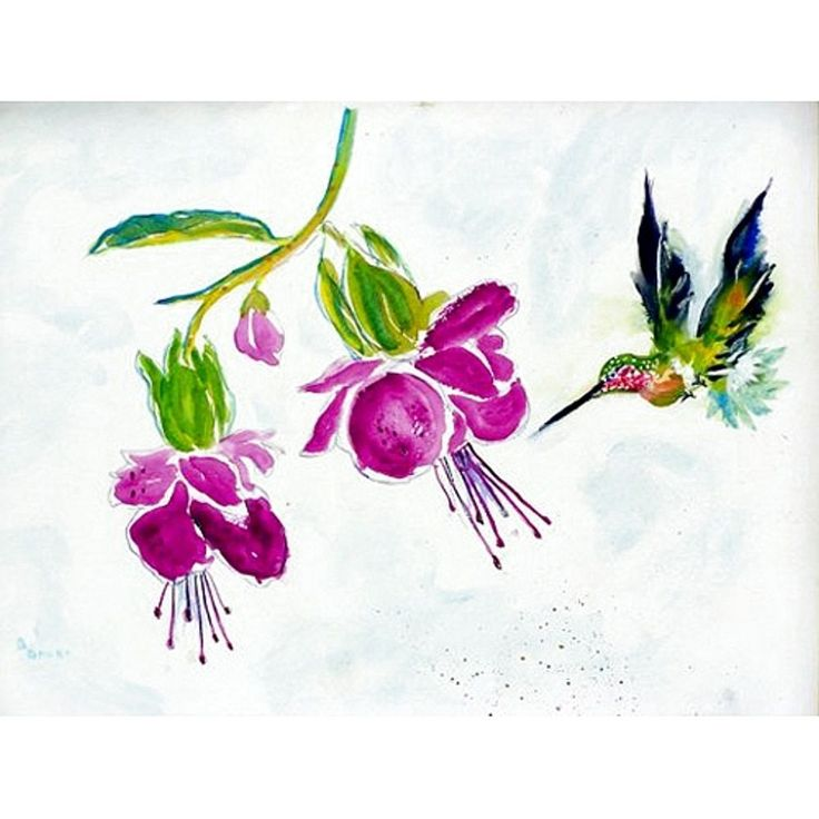 Betsy Drake Hummingbird Purple Placemats