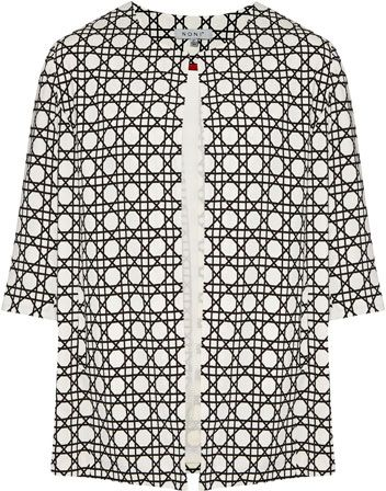 NONI + Edge to Edge 3/4 Sleeve Print Jacket $179.95 AUD  Fully lined 3/4 sleeve long line jacket with round collar and hook and eye 100% Polyester - Dry Clean Only  Item Code: 047082