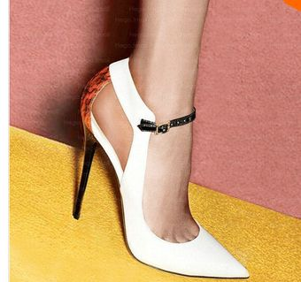 2015 New European and American Patent Leather Shoes Women Patchwork Sequins  Hollow Strap Buckle Pointed Toe Heel Elaphe Pumps