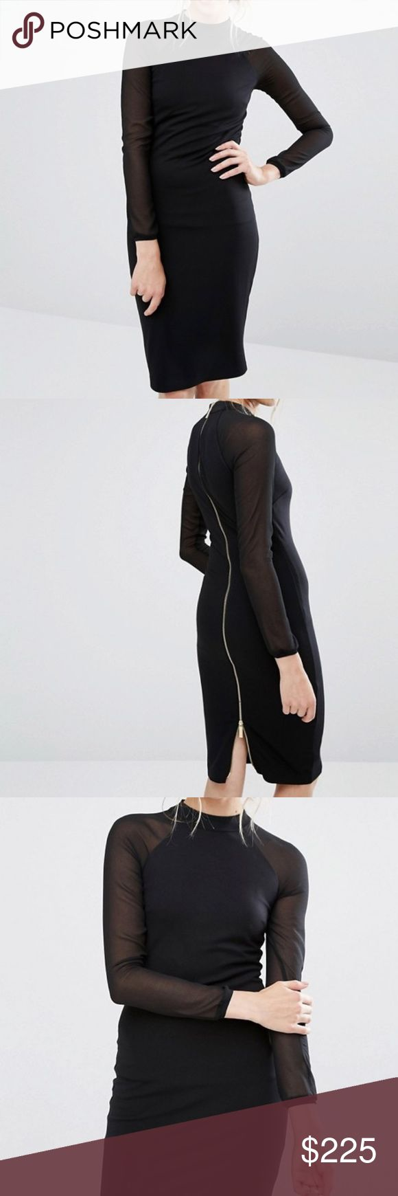 NWT Ted Baker Black Fitted long sleeve Dress New with Tags! Ted Baker Fitted black dress, with long sheer sleeves and gold zippered back detail. Zipper can be pulled up for a slit in back. The perfect LBD for fall and winter! Retail $315 Ted Baker Dresses Long Sleeve