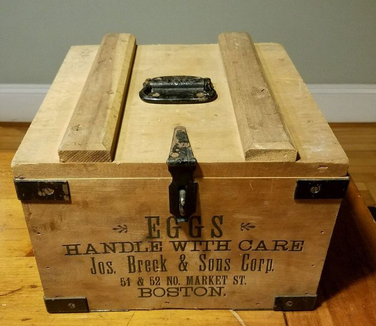 Vintage Joseph Breck & Sons Boston Faneuil Hall Wood Egg Crate Mint Inserts