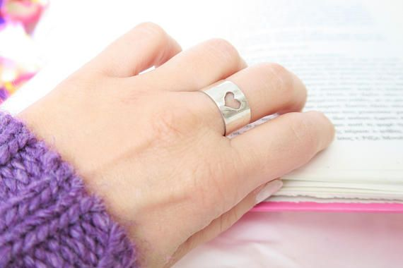 Heart Ring Wide band Sterling silver Ring :::RING DETAILS::: A perfect gift for your loved ones * Made of solid sterling silver 925 * Nickel free * Adjustable as it is open. It is formed on size 53 so if you have really thin fingers then please let me know so as to make it smaller