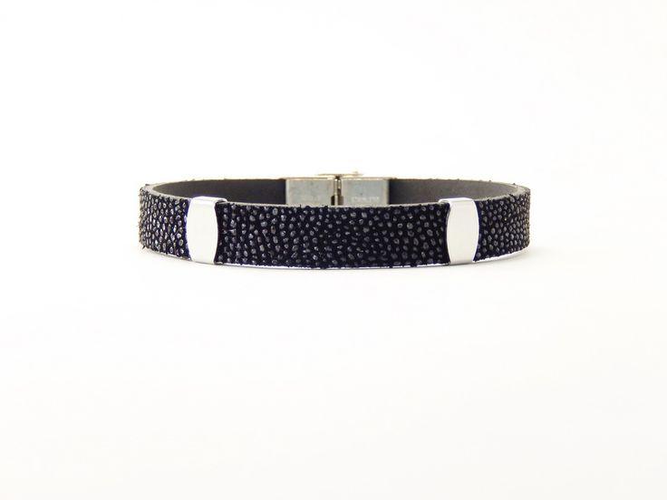 Bracelet luxe en cuir de raie (Galuchat) et acier inoxydable : Bijoux pour hommes par fantaisies-bordelaises