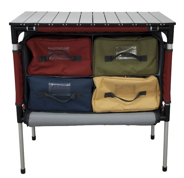 The Sherpa Camp Table & Organizer makes you feel like you've brought the entire kitchen with you to camp. Pull out the aluminum table top for an outdoor dining table or extra prep space; use the four removable storage bags to keep all your utensils and ingredients handy; you even have the kitchen sink with you thanks to a special waterproof lining inside one of the storage bags. When you're ready to head home, you can compress the legs, fit the bags inside their storage compartments, and ...