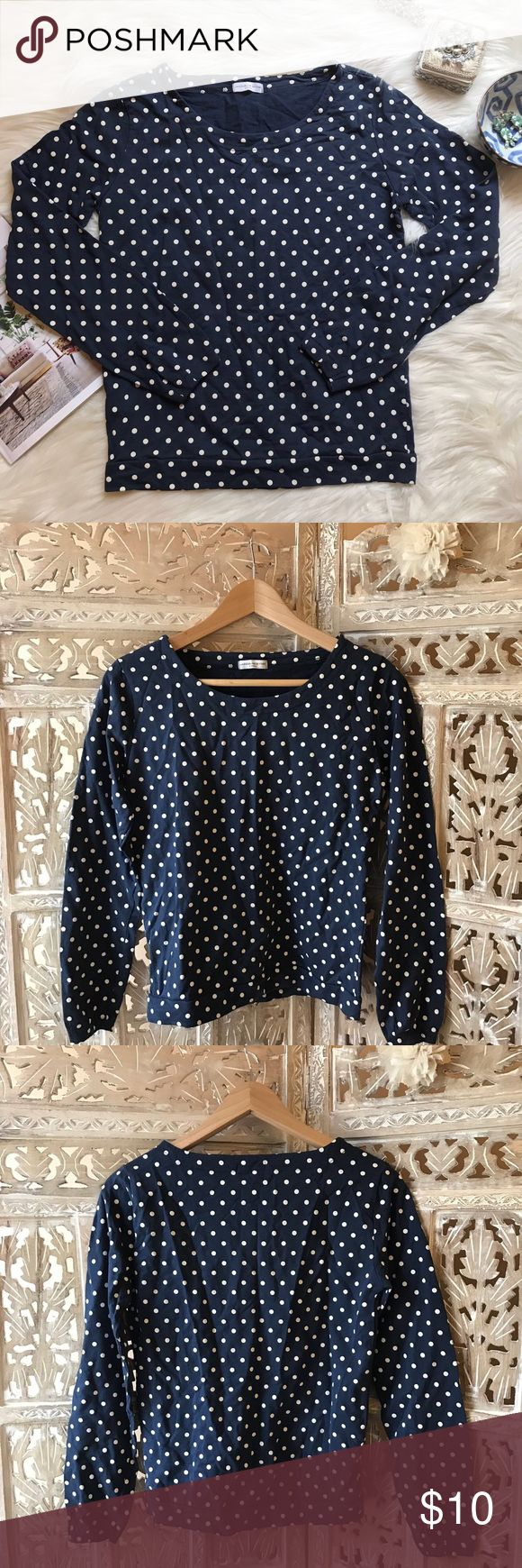 "Jacqueline de Yong polka dot long sleeve tee XS Jacqueline de Yong polka dot long sleeve tee XS.  Very good condition. From Yoox. Dress it up with a necklace, heels and a skirt. Dress it down with jeans and converse. Across chest about 17"". Top length about 22"". Jacqueline de Yong Tops Tees - Long Sleeve"