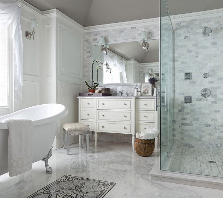 Bathrooms   Curved Ceiling Built In Bathroom Cabinets Twin Single Bathroom  Cabinets Marble Countertops Arched Mirrors Seamless Glass Shower Rain Shower  Head ...