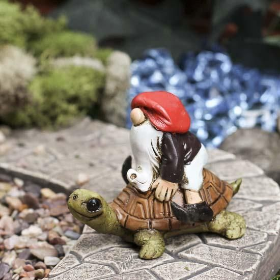 Miniature Garden Gnome On Turtle