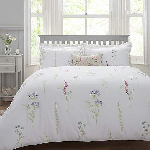 Spring Meadow Embroidered Duvet Cover And Pillowcase Set Dunelm Embroidered Duvet Cover Bedroom Duvet Cover Duvet Covers