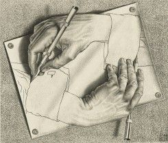 One of Escher's most celebrated and paradoxical works, Drawing Hands mediates upon art and illusion in the most economical and striking way. It shows a right hand and a left hand simultaneously drawing each other: the drawing is drawing itself. The hands appear to break free from the confines of the pinned, two-dimensional sheet of drawing paper, to become three-dimensional forms capable of independent movement.