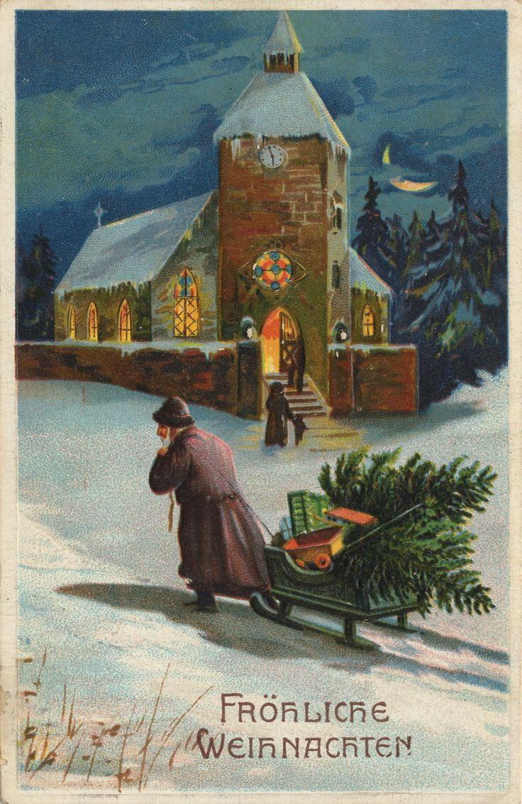 Weihnachtsmann zieht an erleuchteter Kirche vorbei