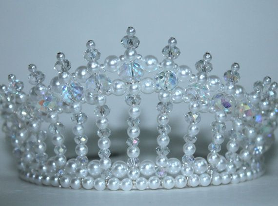 Crystal AB and Pearl Diva Tiara, Princess Tiara, bridal Tiara, Birthday Tiara, Beauty Queen Tiara
