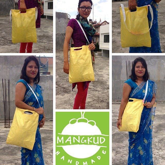 """Just finished prototype of our """"Sack Bag"""", made only from recycled sack. All made by our group of talented, hard-working women, who were also the earthquake victims. ***Pre-order now*** at very cheap price!   #sackbags #earth #ecofriendly #sack #hippie #boho #supportNepal#MangkudHandmade #upcycle #fairTrade #Nepal #environment #bags#cheap #women #help #socialentrepreneurship #love #bags"""