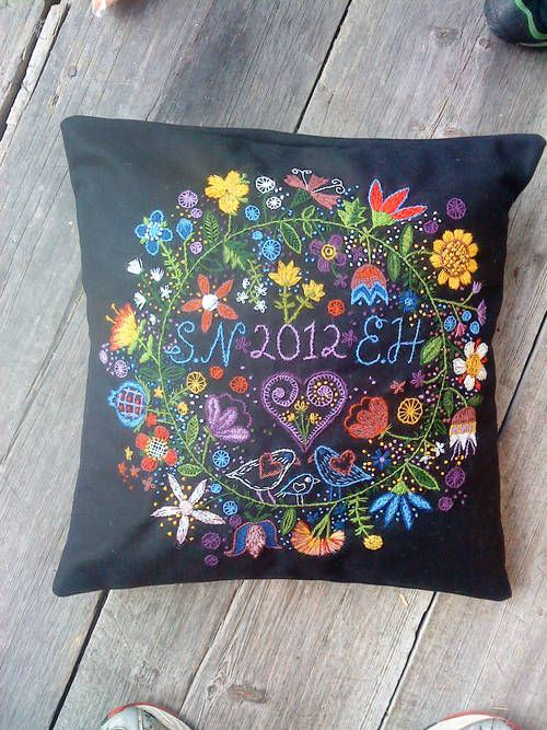 Wedding embroidered pillow - done swedish embroidery style