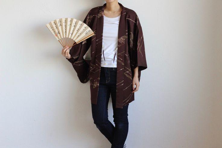 Etsy のHaori, brown kimono jacket, short kimono, short robe /973(ショップ名:LitreJapan)