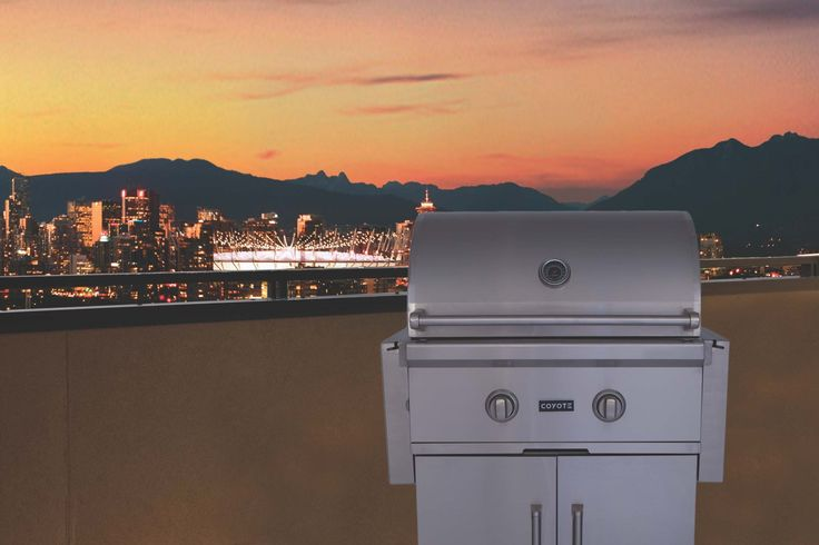 """Coyote C-Series 28"""" Liquid Propane Grill on Cart with Two x 11 Gauge Stainless Cast iBurners, 40,000 BTUs, 640 sq. in Grilling Surface, Interior Grill Light, Warming Rack, and Double Walled Stainless Hood in Stainless Steel CCX2LPFS at appliancesconnection.com. The Coyote C-Series grills are made to meet the needs of the most demanding grill masters. #grills #cseries #musthave"""