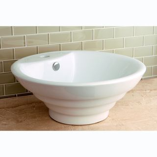 Round Vitreous China Single-Basin Vessel Sink | Overstock.com Shopping - Great Deals on Bathroom Sinks