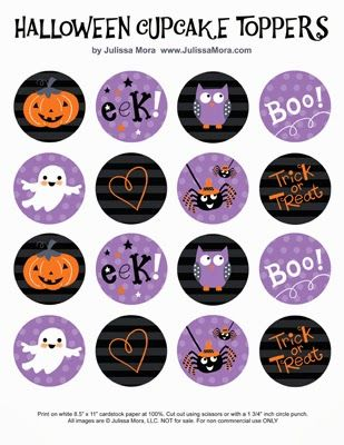FREE printable halloween cupcake toppers on We Love to Illustrate: Halloween Fun