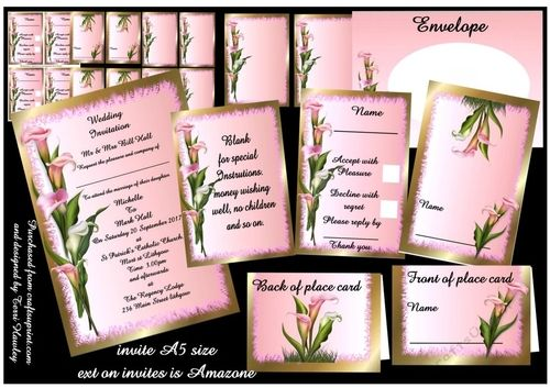 This Pink and white lilies wedding stationary kit, is a complete set of wedding stationary, the invitation which is A5 in size, 2 to a   sheet, and can be used as a order of service and a table menu. Then there is RSVP cards to send with in invitation, 4 to a sheet. that has written on it ,accept with pleasure, and decline with regret, with a box to tick. and a space to put  their name on, and a date for them to answer by, 4 to a sheet, then a sheet for small note for special instructions,4…