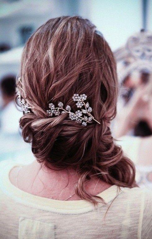 Side swept wedding hairstyle | hair styles | Pinterest